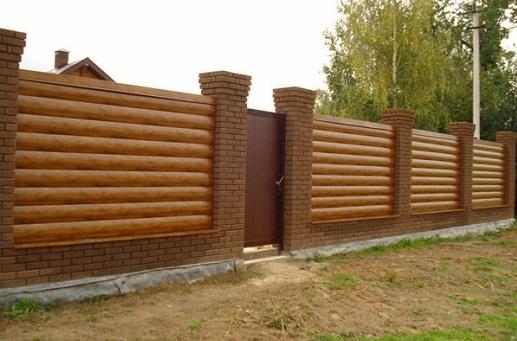 Забор из блок-хауса металлического можно выбрать цвет ольха золотой дуб темное дерево какая стоимость как сделать в Киеве БУДМАТ Украина