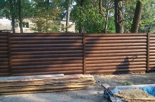 Забор из блок-хауса металлического и все комплектующие можно выбрать цвет ольха золотой дуб темное дерево какая стоимость как сделать в Киеве БУДМАТ Украина
