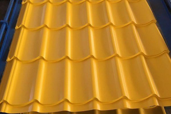 Фото Металлочерепица RAL 1003 РЕ Желтый цвет купить в Киеве цена доставка и гарантия ТД Будмат